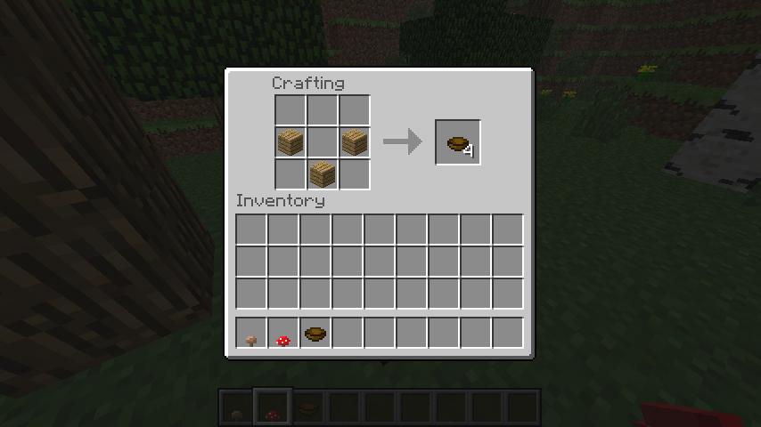 Скриншот крафта деревянной тарелки (чашки, пиалы) в Minecraft