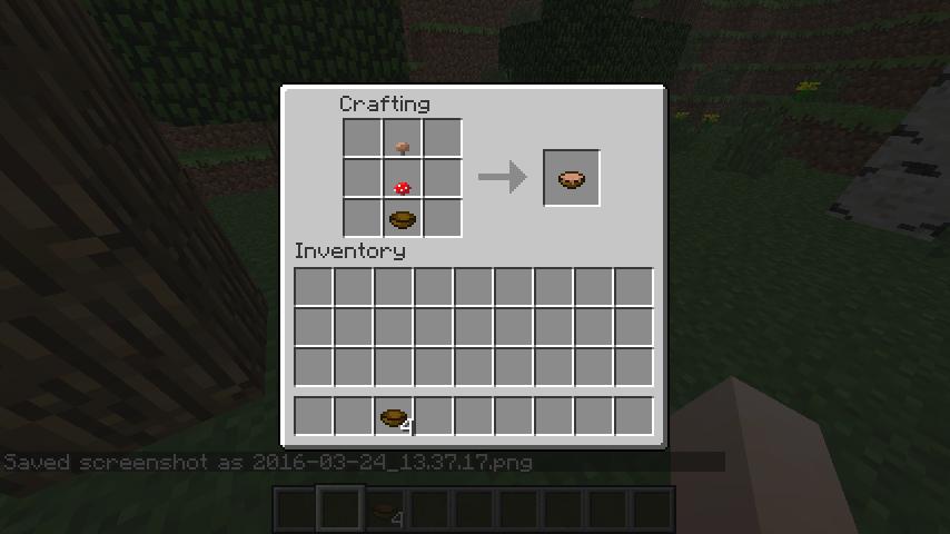 Скриншот крафта тарелки грибного супа в Minnecraft