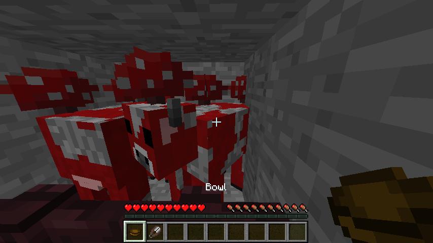 Жмем по грибной корове из minecraft